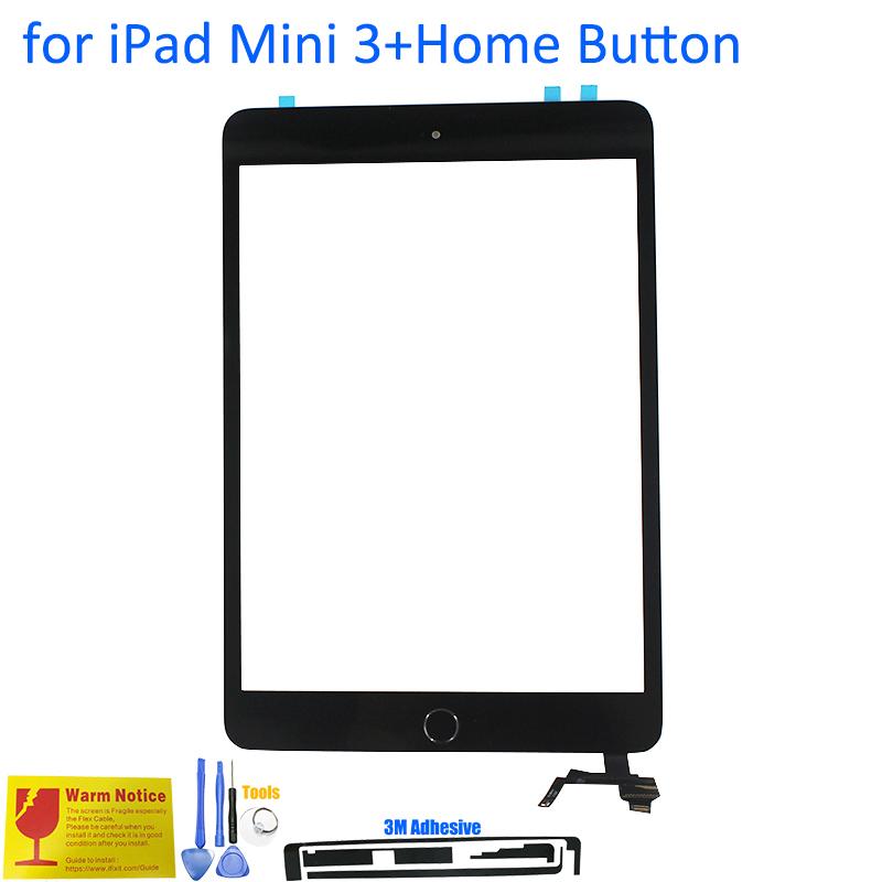 Prix pour ALANGDUO Nouveau pour iPad Mini 3 A1599 A1600 A1601 Apple Touch Écran Digitizer Panneau de Verre de Remplacement Écran Tactile avec Bouton À La Maison