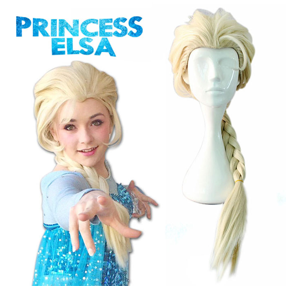 princess elsa cosplay Snow Queen Elsa Cosplay costume accessories golden fantasy women party halloween ice Perruque wholesale
