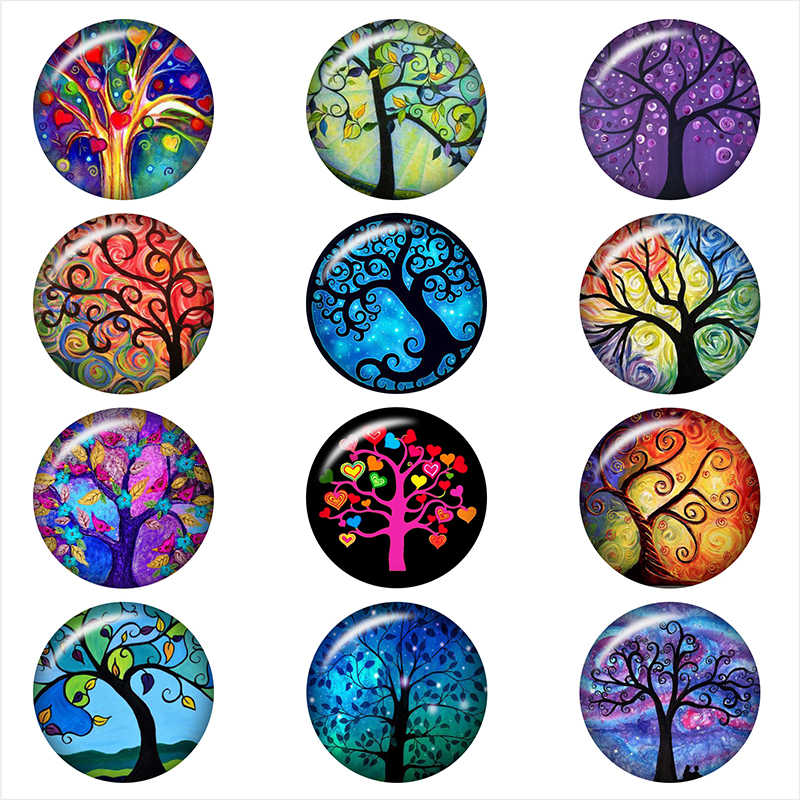 tree of life color  glass snap button for DIY jewelry   Round photo cabochons    DA1091