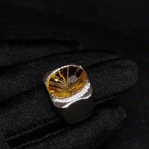 Image 4 - 天然シトリン男性のリング、美しい宝石からブラジル、 925 スターリングシルバー、精密製造