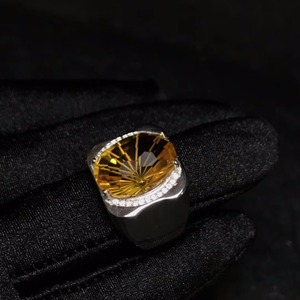 Image 4 - Natural citrine mens ring, beautiful gem from Brazil, 925 sterling silver, precision manufacturing