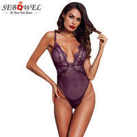 SEBOWEL White/Red/Black Lace Sexy Ribbed Bodysuit Woman Summer Sleeveless Female Body Top Clothes Ladies Transparent Bodysuits