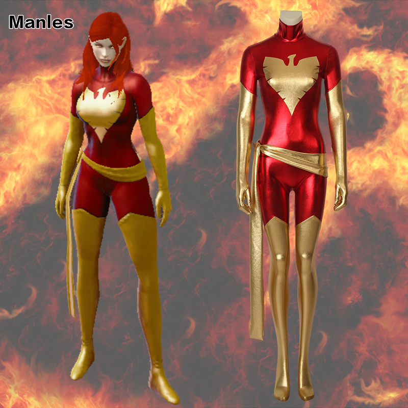 b9b38353a X-Men Dark Phoenix Cospaly Jean Grey-Summers Costume Marvel Superhero  Jumpsuit Adult Sexy