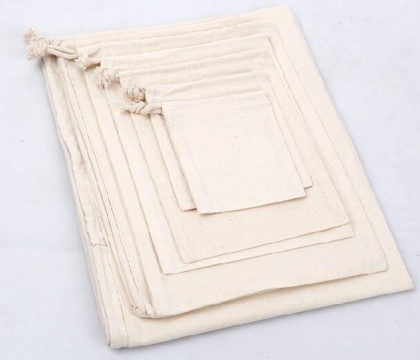 High quality cotton small drawstring bag custom logo printing 7 9cm cotton fabric gift bags for