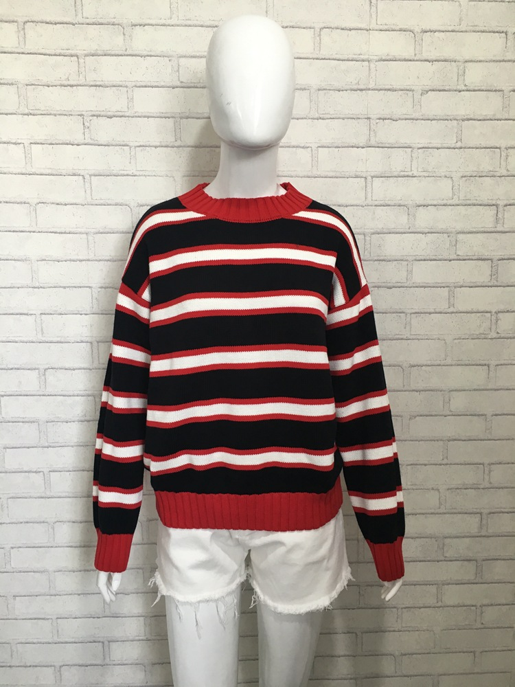2019 New Jolin Tsai Star with A Circular Neck Red Striped Sweater Pullovers Turtleneck Winter Clothes Women Sweaters