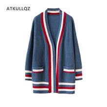 ATKULLQZ 2019 New women sweaters autumn and winter Korean version of the new lazy wind sweater cardigan loose long coat