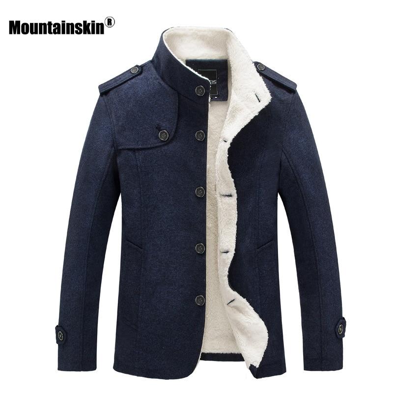 Mountainskin Winter Men's Coat Fleece Lined Thick Warm Woolen Coats Autumn Overcoat Male Wool Blend Jackets Brand Clothing SA607
