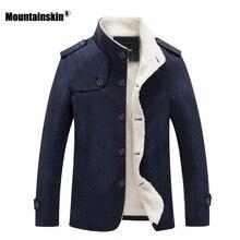 Mountainskin Kış erkek Ceket Polar Astarlı Kalın Sıcak Yün Mont Sonbahar Palto Erkek Yün Karışımı Ceket Marka Giyim SA607