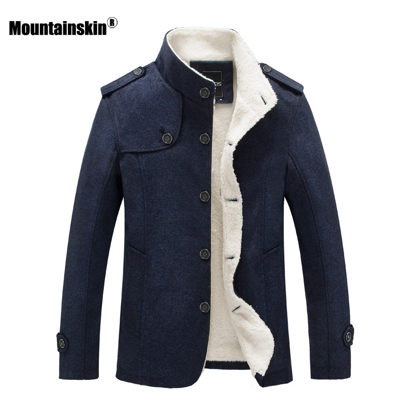 Mountainskin Winter Men's Coat Fleece Lined Thick Warm Woolen Coats Autumn Overcoat Male Wool Blend Jackets Brand Clothing SA607