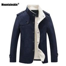 Mountainskin Winter Mens Coat Fleece Lined Thick Warm Woolen Coats Autumn Overcoat Male Wool Blend Jackets Brand Clothing SA607