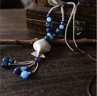 925 стерлингового серебра ручной работы серебро рыбы Подвески Ретро в этническом стиле серебряные бусины кисти дамы свитер цепи