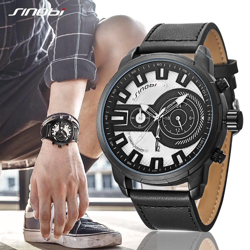SINOBI Big Dial Quartz Wristwatch Leather Sports Watch Men