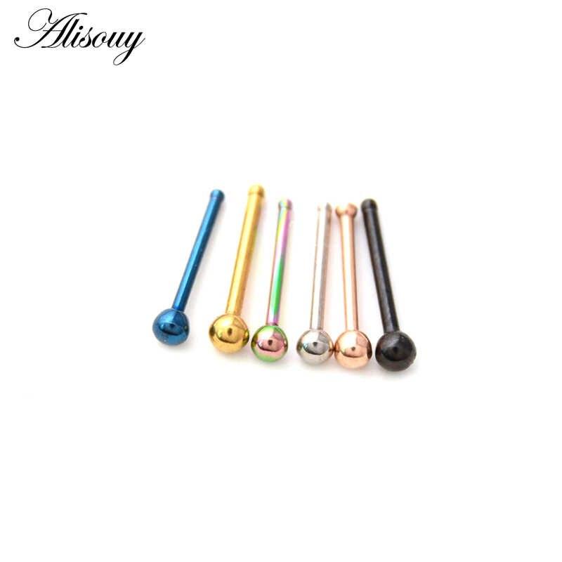 Alisouy 1 Pza 20G anillos de acero para la Nariz pendientes de Nariz Piercings nasales tornillo de la Nariz curvado perno de la Nariz anillos del septo joyería del cuerpo