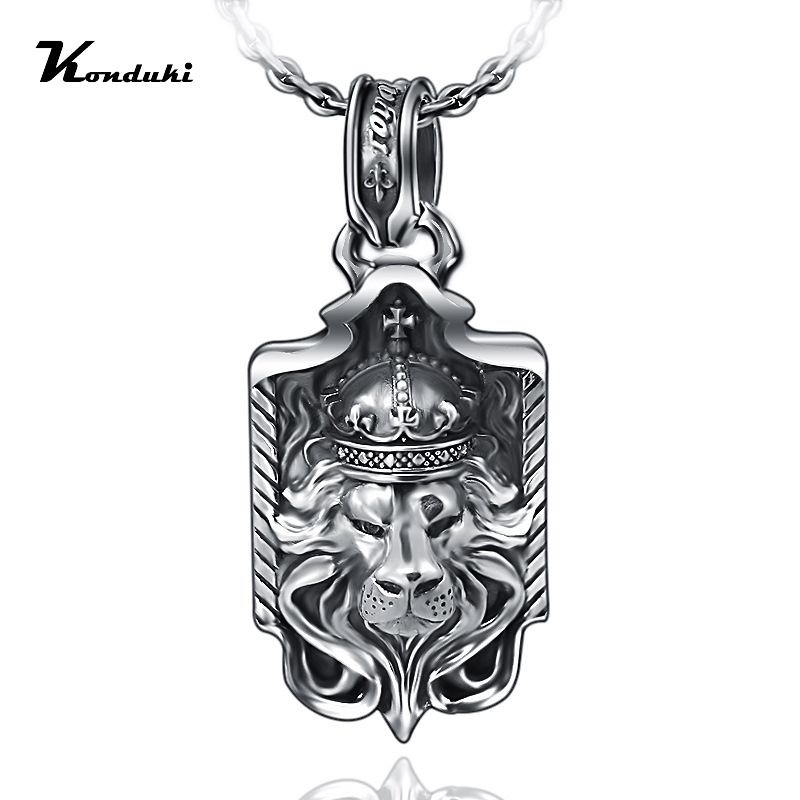Konduki Retro Classic S925 Sterling Silver Ancient silver Lion Pendant For Men Gift Punk Pendant Necklace Jewelry Accessorie s925 anchor pendant silver pendant chain retro punk pirate men