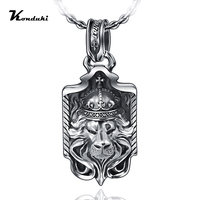 Konduki Retro Classic S925 Sterling Silver Ancient silver Lion Pendant For Men Gift Punk Pendant Necklace Jewelry Accessorie