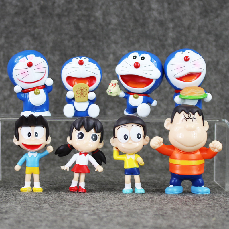 8pcs/lot Doraemon Figures Toys Nobita Sizuka Takeshi Doraemon PVC Action Figure Toys Collection Model Toy for Kids Gift
