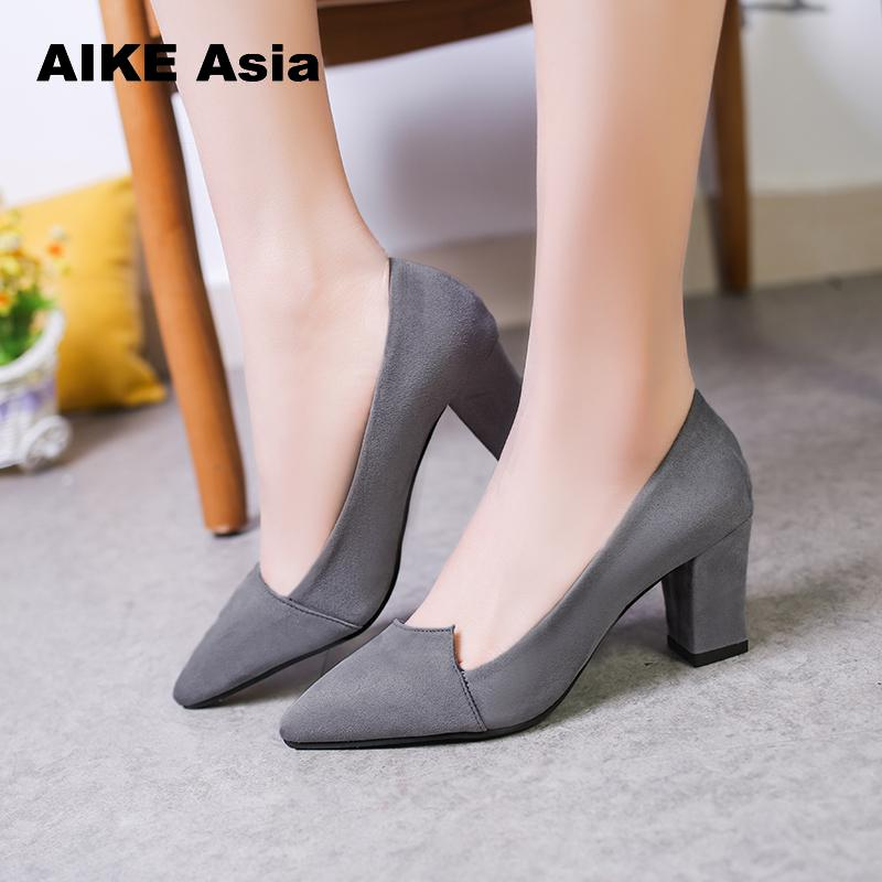 6725deb841ae 2018 Women Pumps Toe Mid Heels Dress Work Comfortable Ladies Shoes Rough  with Ankle Strap Thick Heel Women Shoes Square CS 1-in Women s Pumps from  Shoes on ...