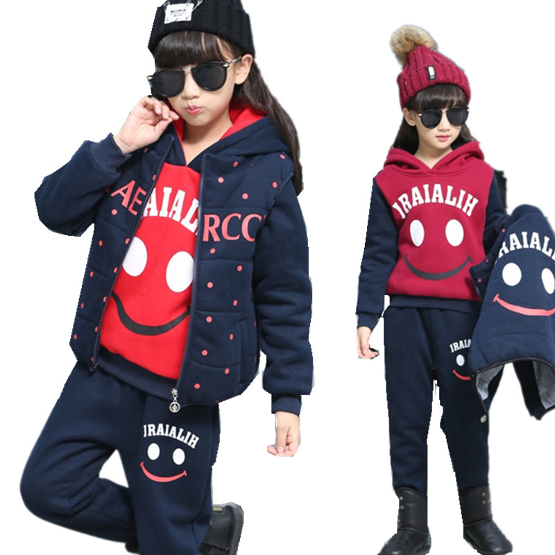 Girls Clothes Winter 2017 Boys Children Hoodie Sports Suit 3-piece Tracksuit Kids Smile Thicken Teenage School Girl Outfit 13 Y xiyu brand boys clothing set autumn tracksuit kids clothes for children sports suit for boys girls children s winter suit print