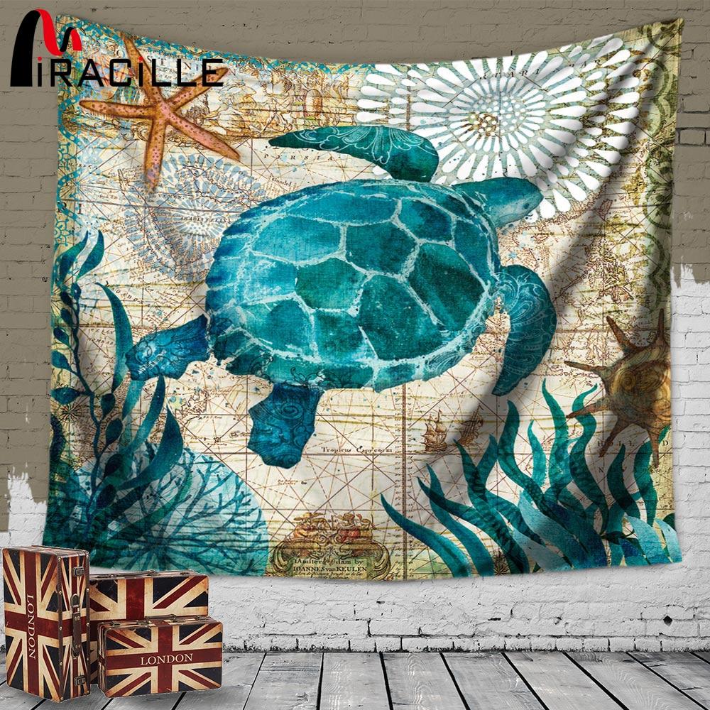 Miracille Stile Marino Sea Turtle Arazzo Da Parete Sea Horse Modello di Casa Decorazione Tapete Camera Da Letto Coperta Panno di Tabella Stuoia di Yoga