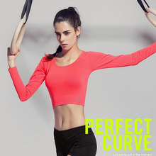 New Black Solid Colors Ladies Yoga Shirts Workout Fitness Women Sports Long Sleeve Gym Sexy High Elastic Female Crop Tank Tops