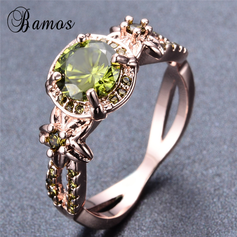 Bamos Vintage Rose Gold Filled August Birthstone Rings For ...