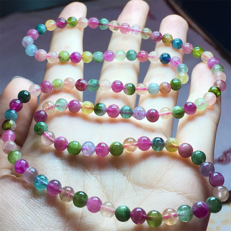 Natural Genuine Colorful Mix Blue Pink Green Tourmaline Multi color Stretch Bracelet Round Beads Necklace 3
