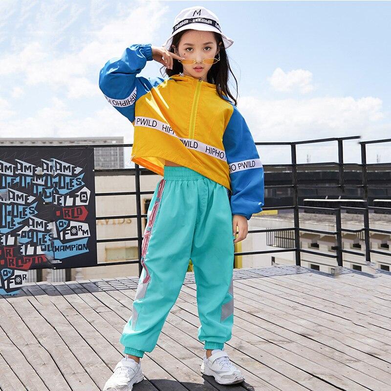 Hip Hop Costumi Di Danza Delle Ragazze Colorblock Cappotto Dei Bambini Dei Pantaloni Di Ballo Di Strada Vestiti Dei Ragazzi Jazz Usura Di Ballo Bambini In Scena Abiti Dn2610 Moda Attraente