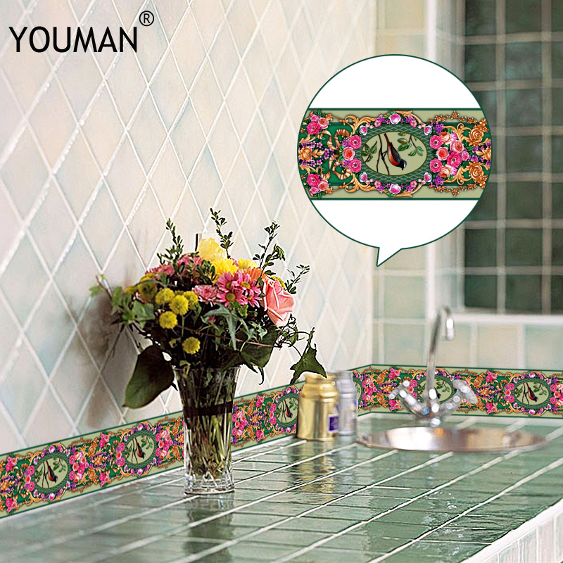 10M 3D Wallpaper Border PVC Self adhesive Skirting Line Waterproof Sticker Removable Modern Tile Wall Sticker Kitchen Bathroom-in Wall Stickers from Home & Garden