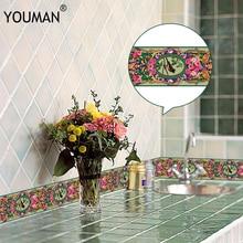 10M 3D Wallpaper Border PVC Self adhesive Skirting Line Waterproof Sticker Removable Modern Tile Wall Sticker Kitchen Bathroom