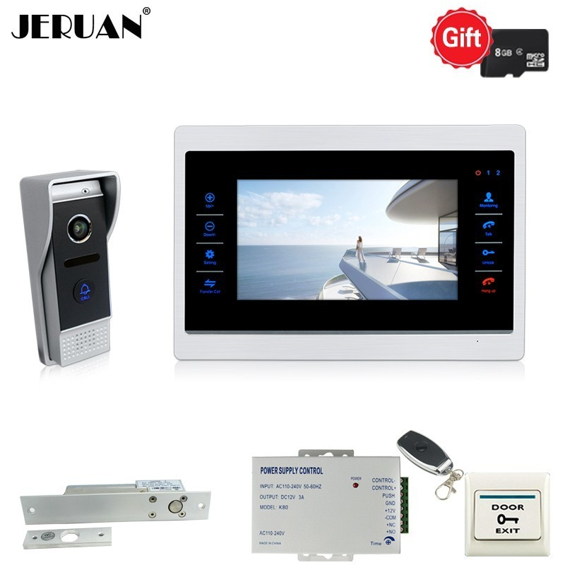 JERUAN 720P AHD HD Motion Detection 7 INCH Video Door phone Unlock Intercom System kit Record Monitor 110 Degree Camera With 8G yagnob hd 110