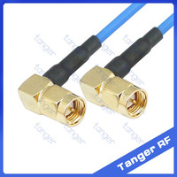 """Tanger SMA male to male double right angle connector with RG405 RG086 Coaxial Jumper blue cable 8 inch 8"""" 20cm RF Low Loss Coax