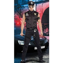 Men's Police Officer Shirt, Hat, Necktie, Arm Guard, Handcuffs Set