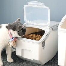 Gato sellada de gran capacidad, caja de almacenamiento de alimentos, Cubo de almacenamiento de arroz con cuchara, comida seca de animales, organizador, dispensador, comedero