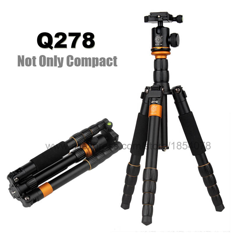 Original QZSD Q278 Lightweight Compact Tripod Monopod Professional Ball Head for Canon Nikon DSLR Camera / Portable Camera Stand qzsd q999 62 2 inches lightweight tripod monopod