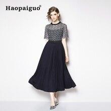 купить Hollow Out Lace Long Black Dress Women Short Sleeve Plus Size A-Line Casual Dress Spring 2019 New Year Office Dress Vestidos по цене 1502.28 рублей
