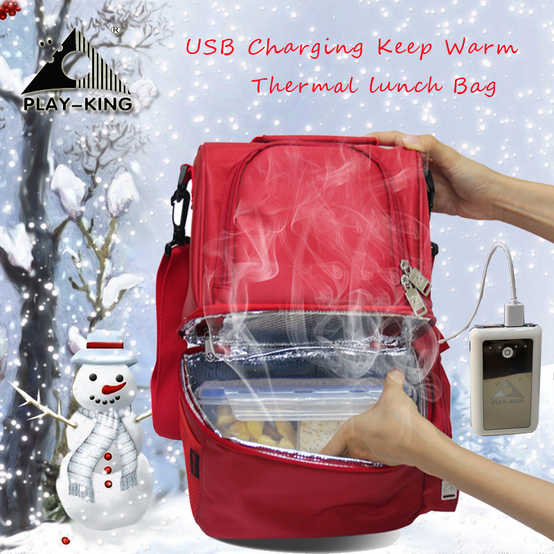 PLAYKING Portable Insulated Lunch Bag Thermal Lunch Box For Kids Cooler Picnic Bag For Women Heating Food Bottle Warmer