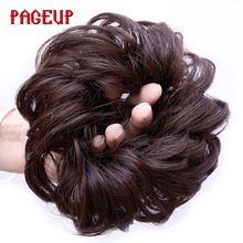 Pageup Synthetic Women Curly Bun Chignon Elastic Band Clip In Hair Extensions Black Blonde High Temperature Fiber Fake Hairpiece