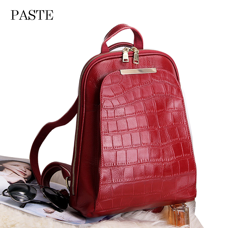 2018 Crocodile Stone Pattern Cowhide Leather Backpack for Women Fashion Bagpack High Quality Teenage Girl School Bags Back Pack