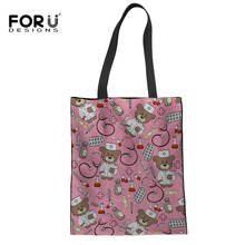 FORUDESIGNS Womens Canvas Bag Cartoon Nurse Bear Printing Women Handbag Shoulder Bags Fashion Messenger Dropshipping