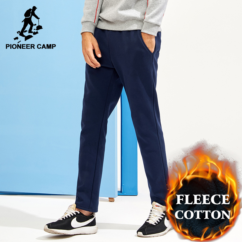 Pioneer Camp New Solid Thick Fleece Sweatpants Men Brand Clothing Straight Fleece Warm Trousers Male Quality Cotton AWK702320