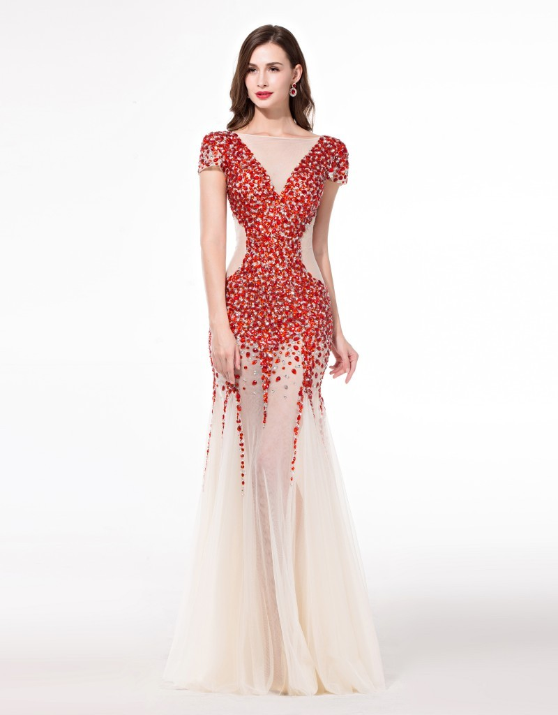 Buy red crystal haute couture evening for 50 haute couture