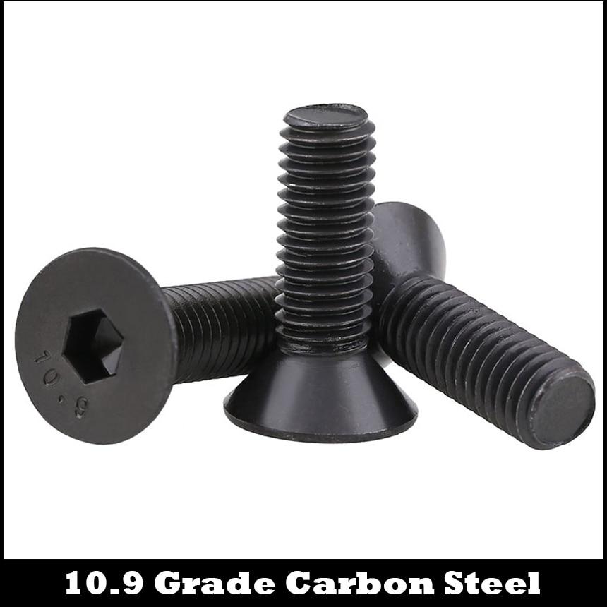 M3 M3*4/5/6/7/8/9 M3*4/5/6/7/8/9 10.9 Grade Black Carbon Steel DIN7991 Flat Countersunk Head Inner Hex Hexagon Socket Screw m3 titanium screw kit 9 size 90pcs m3 hex socket flat head screw din7991 titanium bolt super light screws 5mm 20mm