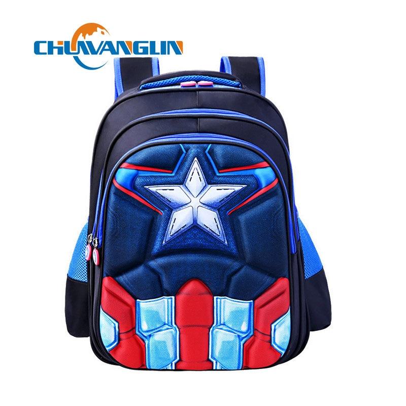 Chuwanglin American Captain Boy School Bag Primary School Student Grade 1 - 6 Year Child Cartoon Bag Waterproof Shoulder Bag