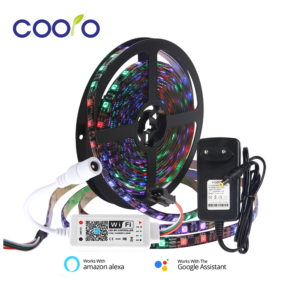 WS2811 5050 RGB 30/60 LEDs/M Full Color Programmable Individual Addressable 2811 Pixels LED Strip Light With Wifi Controller 5MWS2811 5050 RGB 30/60 LEDs/M Full Color Programmable Individual Addressable 2811 Pixels LED Strip Light With Wifi Controller 5M