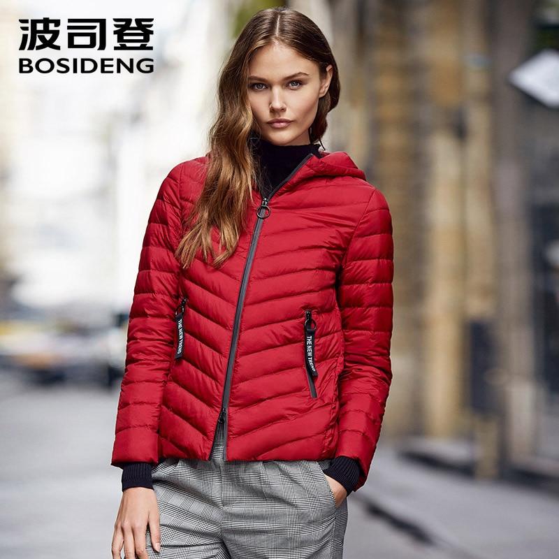 цены BOSIDENG early winter for women down jacket hoodie down coat slim warm ultra light rib cuff high quality parka outwear B70131110