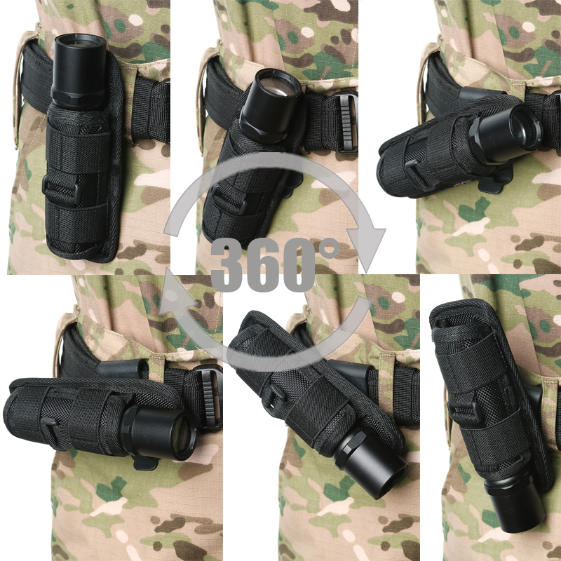 Portable 360 Degrees Rotatable Flashlight Pouch Holster For Hunting Sports LED Light Clip Tactical Torch Nylon Holster For Belt