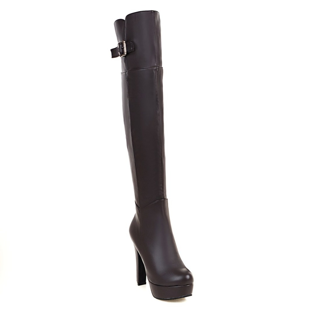 ФОТО 2 Colors Sexy Women Over the Knee Boots Nice Round Toe Square Heels Boots Black Brown Shoes Woman US Size 3.5-10.5