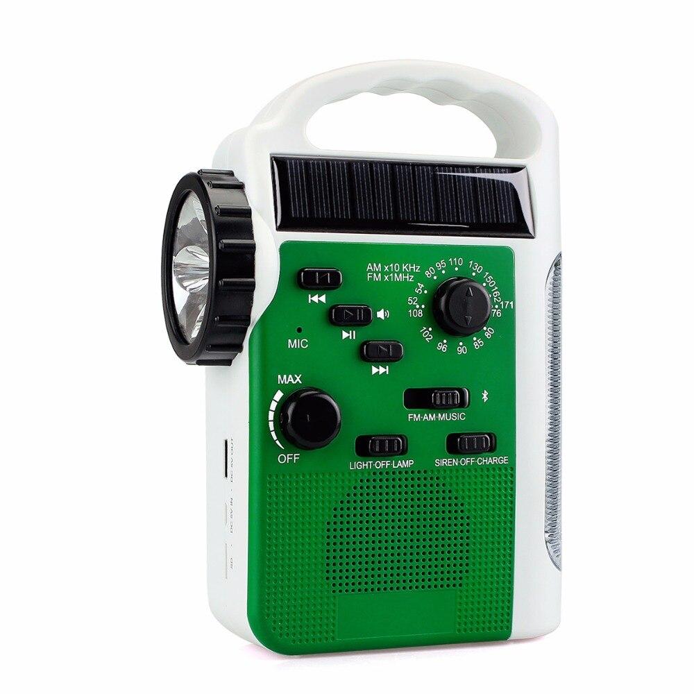 Portable Solar Hand Crank Radio Emergency Radio FM/AM Receiver Bluetooth Speaker Flashlight Y4414B portable radio hand crank emergency radio fm am sw receiver bluetooth speaker flashlight cellphone charger reading lamp y4380g