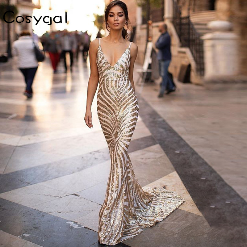 COSYGAL Summer Sequin Maxi Dress Spaghetti Strap Women V Neck Club Mermaid Party Dress Backless Bodycon