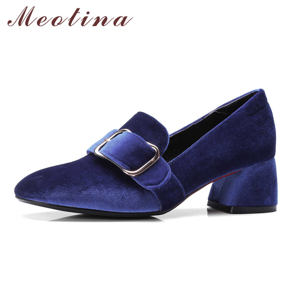 Meotina Women Pumps Velvet Shoes 2018 Brand Designer Thick Heels Ladies  Shoes High Heel Buckle Female 356d9dfc4ad1